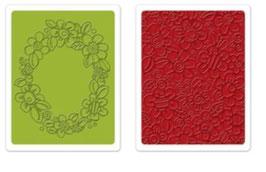 "Sizzix Textured Impressions Embossing Folders, ""Wreath & Flowers Set"""