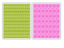"Sizzix Textured Impressions Embossing Folders, ""Dots, Zig Zags & Flowers Set"""