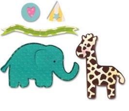 "Sizzix Thinlits Die, ""Elephant & Giraffe"""