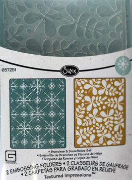 """Sizzix Textured Impressions Embossing Folders,""""Branches & Snowflakes Set"""""""