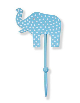Haken, Elefant, Punkte hellblau/weiss, EFT01