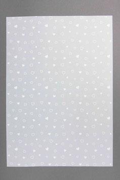 Bedrucktes Transparentpapier Herzli weissT16