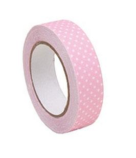 Selbstklebendes Stoff-Band, Leinen rosa/weiss gepunktet