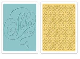 "Sizzix Textured Impressions Embossing Folders,""Merci & Printer's Ornament Set"""