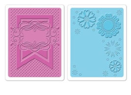 "Sizzix Textured Impressions Embossing Folders, ""Banner & Flowers Set"""