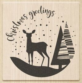 "Holzstempel ""Cristmas Greetings"""
