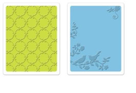 "Sizzix Textured Impressions Embossing Folders,""Songbirds & Lattice Set"""