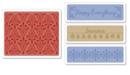 "Sizzix Textured Impressions Embossing Folders, ""Holiday Damask Set """