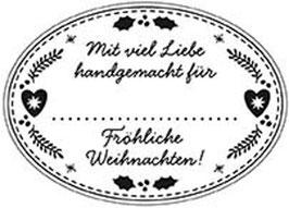 """Holzstempel """"Fröhliche Weihnachten"""", oval"""