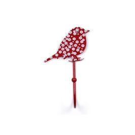 Haken, Vogel/Blumen, rot, H66