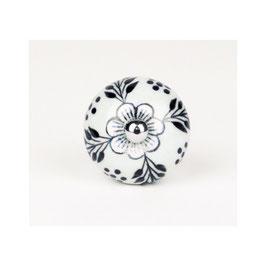 Möbelknopf A18d, Botanik-Blume cremeweiss