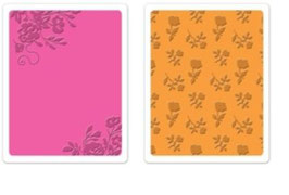 """Sizzix Textured Impressions Embossing Folders,""""Border Blooms & Garden Roses Set"""""""