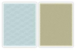 "Sizzix Textured Impressions Embossing Folders, ""Hexagons & Chevrons Set"""