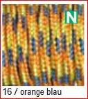 Paracord Farbmix 2mm, orange blau hellgrün 16