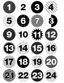 Adventskalender Buttons, schwarz/weiss