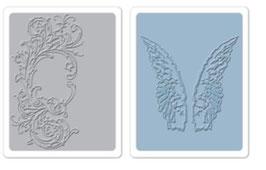 "Sizzix Textured Impressions Embossing Folders, ""Flourish & Wings Set"""