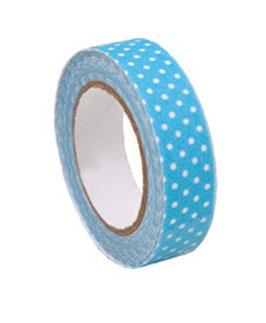 Selbstklebendes Stoff-Band, hellblau/weiss gepunktet