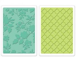 Sizzix Textured Impressions Embossing Folders 2PK - Rose Vines & Trellis Set