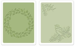 "Sizzix Textured Impressions Embossing Folders, ""Bird & Wreath Set"""
