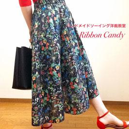 【レベル1】大人服ロング丈タックギャザースカート型紙
