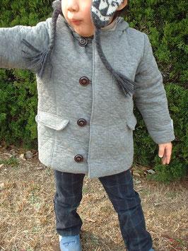 子ども服ボタンループのフード付コート型紙