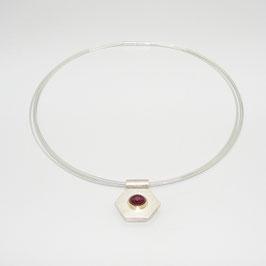 Kettenanhänger Silber mit Rubin in 750er GG Fassung