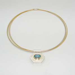 Kettenanhänger 6-Eck Silber mit Opal in 750er GG Fassung