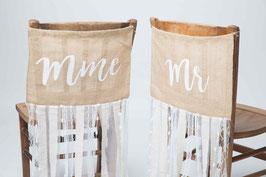 Bannière chaise Mr et Mrs avec rubans
