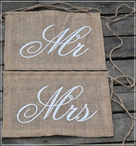 Bannière chaise en toile de jute Mr & Mrs