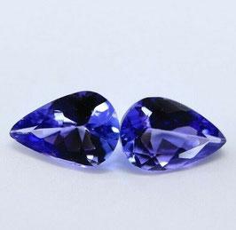 2x Tansanit 6x4mm Tropfen 0,65 Karat Violett Blau VVS Natürliche Edelsteine