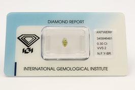 !!RESERVIERT!! Natural 0,30 Karat Fancy Yellow Brown VVS2 IGI 345846481
