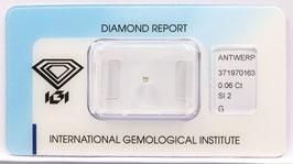 Natural Loose Diamond 0.06ct  G Color -SI2-Princess Cut-IGI Cert