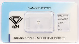 Natural Loose Diamond 0.20ct  G Color -SI2-Pear Briliant-IGI Cert