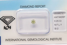 IGI 0,25 Carat Fancy Light Yellow SI2 350882321 Natural Diamond