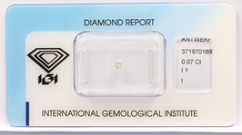 !!!Reserviert!!! Natural Loose Diamond 0.07ct I Color -I1-Heart Briliant-IGI Cert