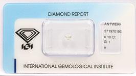 !!!Reserviert!!!Natural Loose Diamond 0.10ct  H Color -SI1-Heart Brilliant-IGI Cert