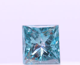 Treated IGL Cert 0.48 Ct SI2 (pique) Fancy Vivid Blue Princess cut Color & Clarity Enhanced.