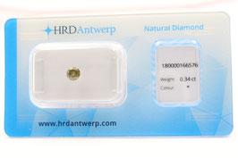 Natural HRD 0,34 Carat Fancy Intense yellowish brown