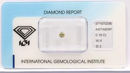 Natural Loose Diamond 0.18ct W-X Brownish Yellow -SI2-Round Brilliant-IGI Cert