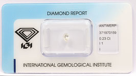 Natural Loose Diamond 0.23ct I Color -I1-Pear Brilliant-IGI Cert