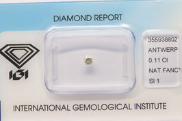 IGI 0,11 Carat Fancy light Yellow Grey SI1 355938802 Natural Diamond