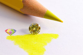 Treated Diamond - 0.33 ct - Round Brilliant - fancy vivid yellow - VVS2 Color and Clarity Enchanced