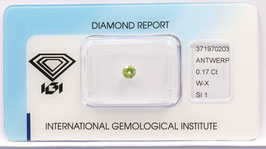 Natural Loose Diamond 0.17ct  W-X Yellow -SI1-Round Brilliant-IGI Cert