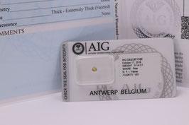 !!!Reserviert!!!Natural 0,14 Carat Fancy Intense Yellow VS1 Pear Cut AIG Certified