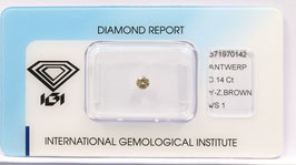 Natural Loose Diamond 0.14ct Y-Z Brown -VS1-Round Brilliant-IGI Cert