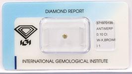Natural Loose Diamond 0.10ct  W-X Brown -I1-Round Briliant-IGI Cert