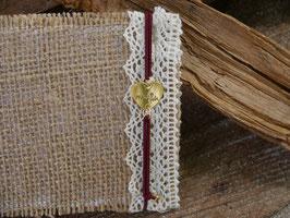 Pfalzliebe Armbändchen - Herz gold mit rotem Bändchen