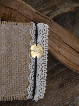 Pfalzliebe Armbändchen - Rund gold mit schwarzem Bändchen