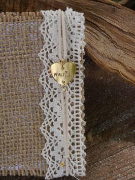 Pfalzliebe Armbändchen - Herz gold mit weißem Bändchen