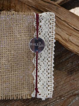 Pfalzliebe Armbändchen - Rund silber mit rotem Bändchen